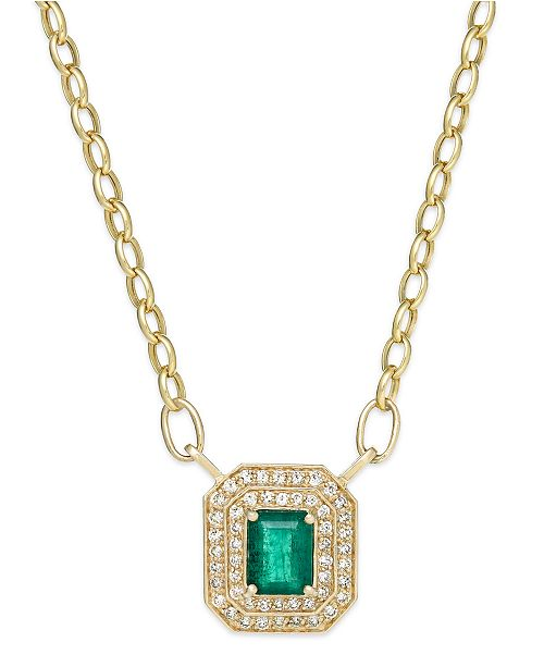 EFFY Collection Brasilica by EFFY Emerald (1-3/8 ct. t.w.) and Diamond (1/2 ct. t.w.) Pendant Necklace in 14K Gold, Created for Macy's