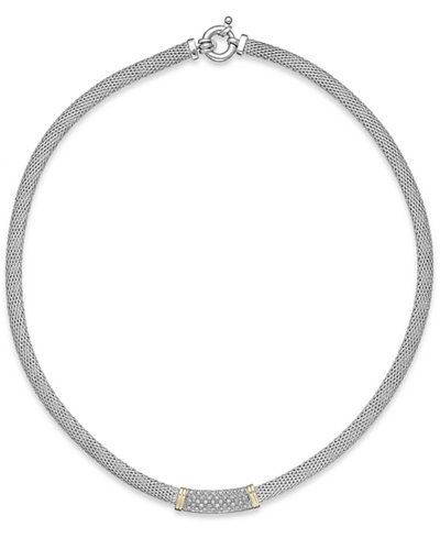 Diamond Mesh Collar Necklace in 14k Gold and Sterling Silver (1/4 ct. t.w.)