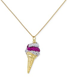 Pink and Clear Crystal Ice Cream Cone Pendant Necklace in 18k Gold over Sterling Silver