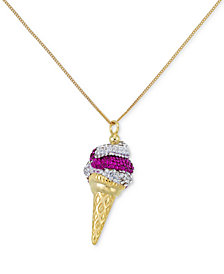SIS by Simone I. Smith Pink and Clear Crystal Ice Cream Cone Pendant Necklace in 18k Gold over Sterling Silver