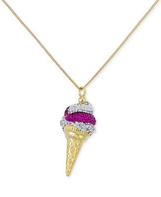 Sis By Simone I Smith Pink And Clear Crystal Ice Cream