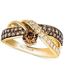 Le Vian Chocolate and White Diamond Crossover Ring in 14k Gold (1-1/4 ct. t.w.)
