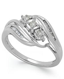 Diamond Three-Stone Ring in 10k White or Yellow Gold (1/5 ct. t.w.)