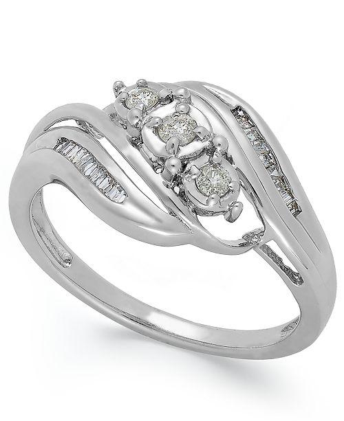 Macy's Diamond Three-Stone Ring in 10k White or Yellow Gold (1/5 ct. t.w.)
