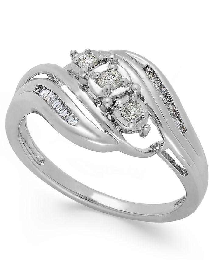 Macy's - Diamond Three-Stone Ring in 10k White Gold (1/5 ct. t.w.)