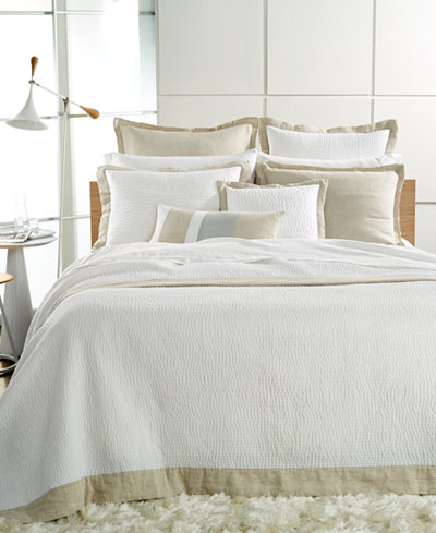 Hotel Collection Linen Natural Quilted Queen Coverlet