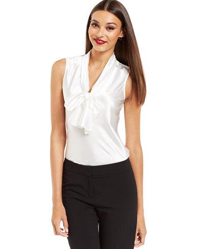 Nine West Top Sleeveless Tie Neck Blouse Wear To Work