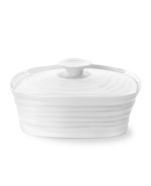 """Portmeirion """"Sophie Conran"""" White Covered Butter Dish, 6"""" X 4.75"""""""