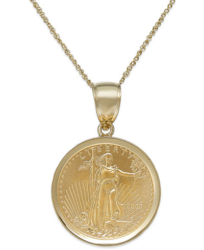 Genuine eagle coin pendant necklace in 22k and 14k gold genuine eagle coin pendant necklace in 22k and 14k gold aloadofball Image collections