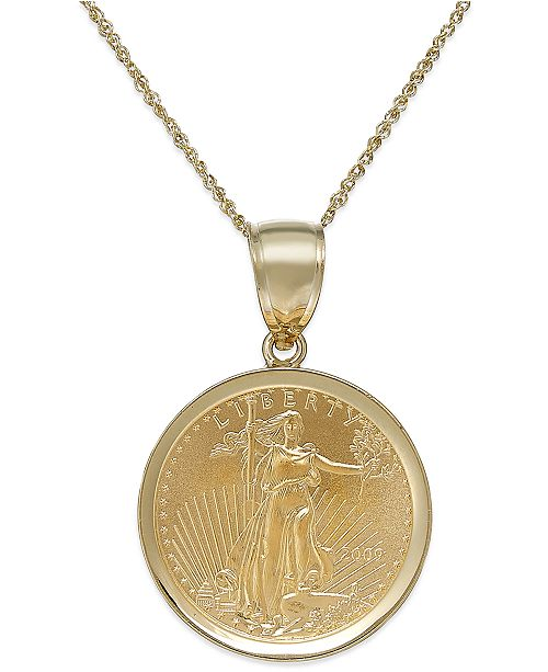 Macys genuine eagle coin pendant necklace in 22k and 14k gold main image main image aloadofball Choice Image