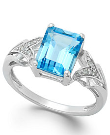 Emerald-Cut Blue Topaz (2-1/2 ct. t.w.) and Diamond Accent Ring in 14k White Gold
