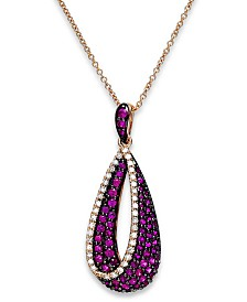 Amoré by EFFY® Ruby (7/8 ct. t.w.) and Diamond (1/6 ct. t.w.) Pendant Necklace in 14k Rose Gold