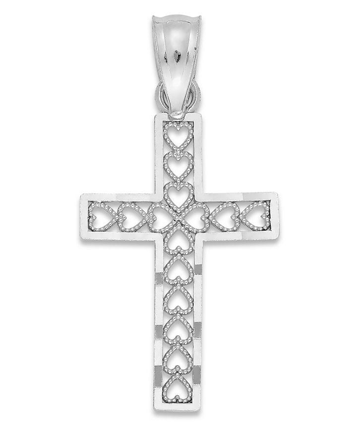 Macy's - Cross Charm in 14k White Gold