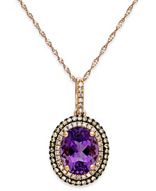 Amethyst (2-1/4 ct. t.w.) and Diamond (1/3 ct. t.w.) Pendant Necklace in 14k Rose Gold