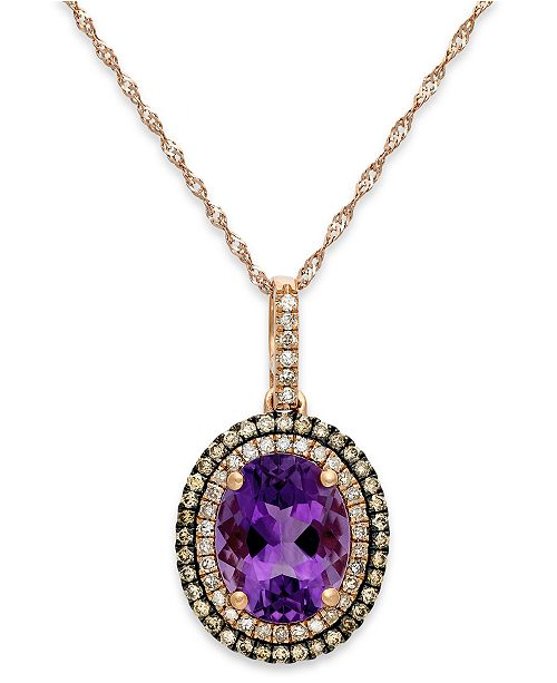Macy's Amethyst (2-1/4 ct. t.w.) and Diamond (1/3 ct. t.w.) Pendant Necklace in 14k Rose Gold