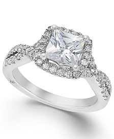 Certified Princess Cut Diamond Twist Halo Engagement Ring (1-1/3 ct. t.w.) by in 18k White Gold, Created for Macy's