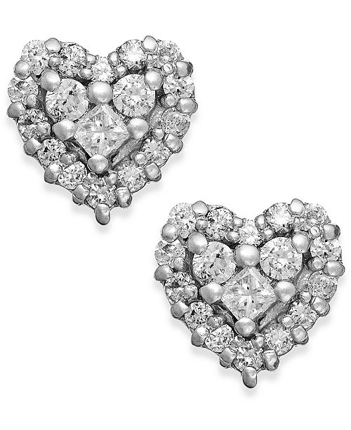 EFFY Collection EFFY® Diamond Heart Stud Earrings in 14k White Gold and Rose Gold (1/2 ct. t.w.)