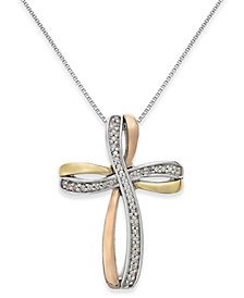 Diamond Tri-Tone Cross Pendant Necklace in 14k Gold and Sterling Silver (1/10 ct. t.w.)