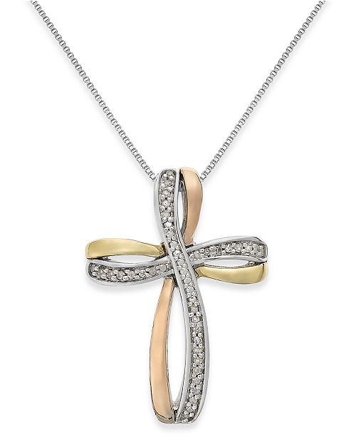 Macy's Diamond Tri-Tone Cross Pendant Necklace in 14k Gold and Sterling Silver (1/10 ct. t.w.)