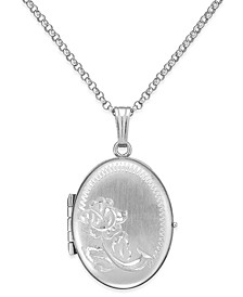 Embossed Four-Picture Oval Locket in Sterling Silver