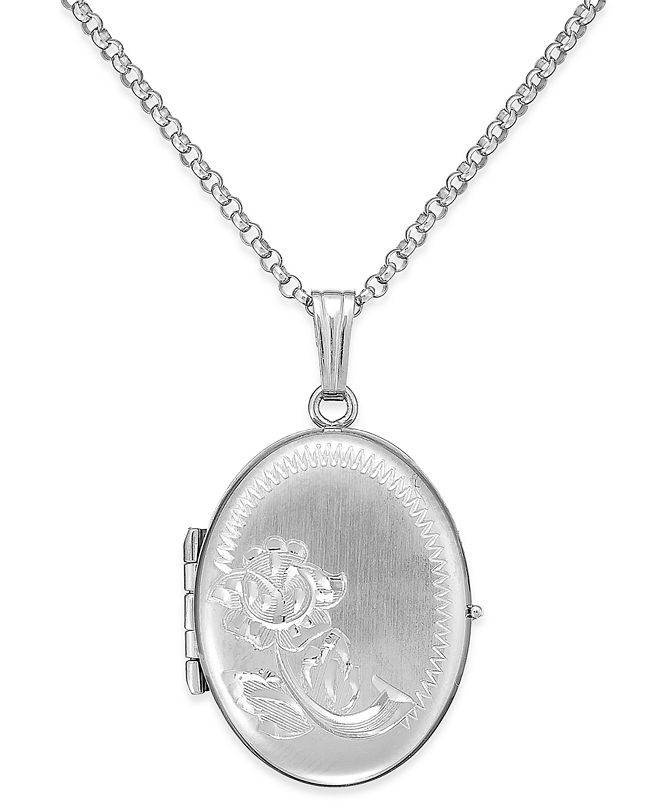 Macy's Embossed Four-Picture Oval Locket in Sterling Silver