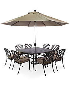 "CLOSEOUT! Grove Hill Outdoor Cast Aluminum 9-Pc. Dining Set (60"" Square Dining Table and 8 Dining Chairs), Created for Macy's"