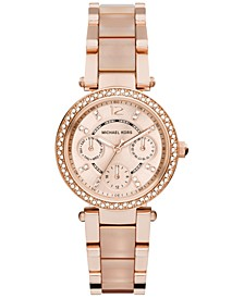 Women's Chronograph Mini Parker Blush and Rose Gold-Tone Stainless Steel Bracelet Watch 33mm MK6110