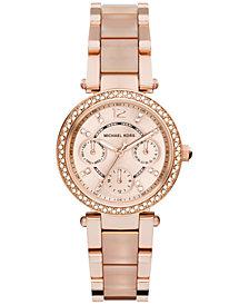 Michael Kors Women's Chronograph Mini Parker Blush and Rose Gold-Tone Stainless Steel Bracelet Watch 33mm MK6110
