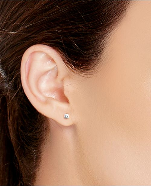 X3 Certified Diamond Stud Earrings In 18k White Gold 1 Ct T W Created For Macy S Jewelry Watches