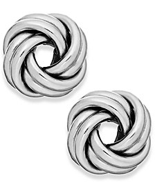 Love Knot Stud Earrings in 18k White Gold