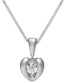 Sirena® Diamond Heart Pendant Necklace in 14k Yellow or White Gold (1/10 ct. t.w.)