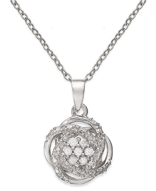 "Macy's Diamond Love Knot 18"" Pendant Necklace (1/10 ct. t.w.) in 18k Gold-Plated Sterling Silver or Sterling Silver"