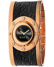 Gucci Women's Swiss Twirl Black Guccissima Leather and Rose Gold-Tone PVD Stainless Steel Bangle Bracelet Watch 24mm YA112438