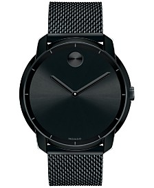 movado watches macy s movado unisex swiss bold black ion plated stainless steel mesh bracelet watch 44mm 3600261