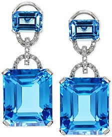 EFFY® Blue Topaz (28-1/5 ct. t.w.) and Diamond (1/8 ct. t.w.) Earrings in 14k White Gold