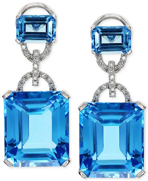 EFFY Collection EFFY® Blue Topaz (28-1/5 ct. t.w.) and Diamond (1/8 ct. t.w.) Earrings in 14k White Gold