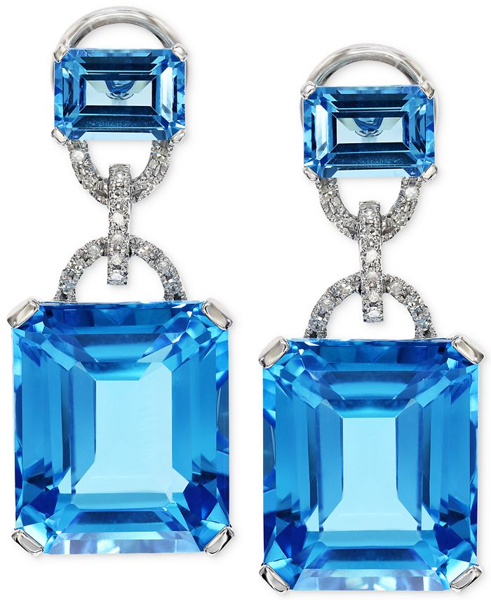 EFFY Collection - Blue Topaz (28-1/5 ct. t.w.) and Diamond (1/8 ct. t.w.) Earrings in 14k White Gold