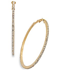 Large Crystal Pavé Hoop Earrings 2.4""