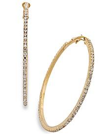 "Thalia Sodi Large Crystal Pavé Hoop Earrings 2.4"""