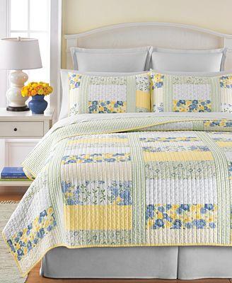 Martha Stewart Collection 100% Cotton Blue & Yellow Patchwork ... : yellow quilt bedding - Adamdwight.com