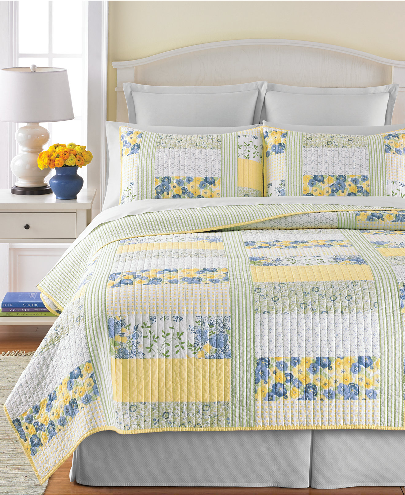 Yellow and blue bedding - Martha Stewart Collection Blue Yellow Patchwork Posey Quilts Quilts Bedspreads Bed Bath Macy S