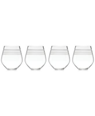 Library Stripe Stemless Red Wine Glasses