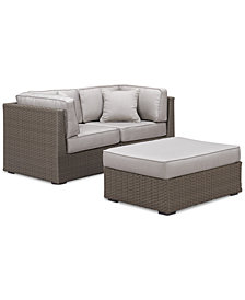 CLOSEOUT! South Harbor Outdoor 3-Pc. Modular Seating Set (2 Corner Units and 1 Ottoman), Created for Macy's