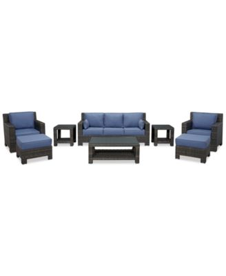 Viewport Outdoor Wicker 8-Pc. Seating Set (1 Sofa, 2 Club Chairs, 2 Ottomans, 1 Coffee Table and 2 End Tables), Created for Macy's