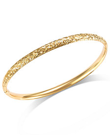 Crystal-Cut Hinge Bangle Bracelet in 14k Gold