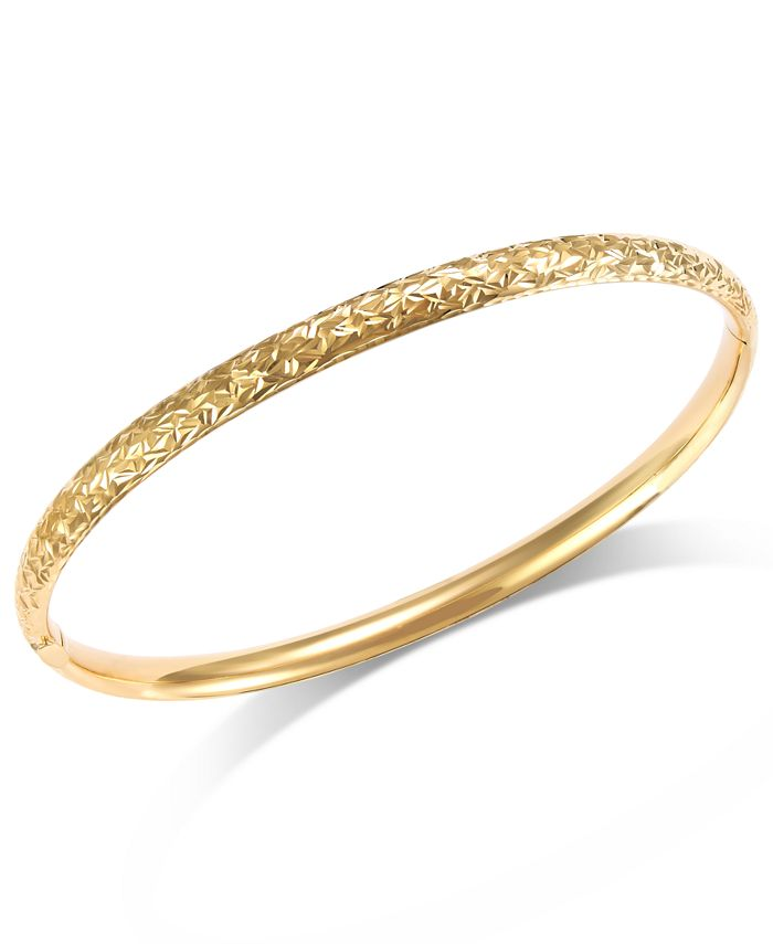 Italian Gold - Crystal-Cut Hinge Bangle Bracelet in 14k Gold