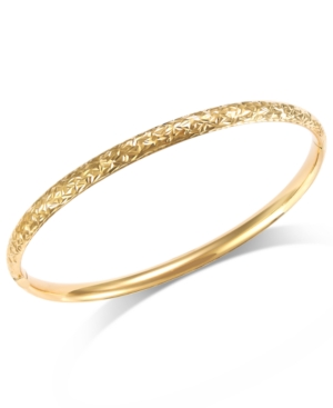 Crystal-Cut Hinge Bangle Bracelet in 14k Gold