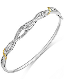 Diamond Twist Bangle Bracelet in 14k Gold and Sterling Silver (1/4 ct. t.w.)