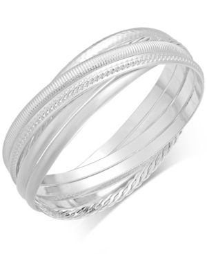 Touch of Silver Textured Interlocking Bangle Bracelet in Silver-Plated Metal