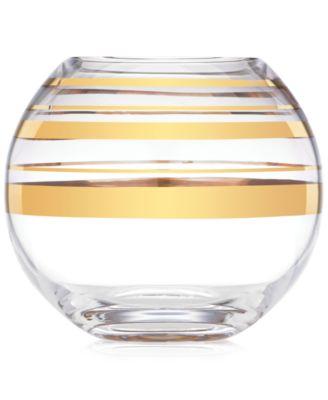 Hampton Street Gold Striped Rose Bowl Vase